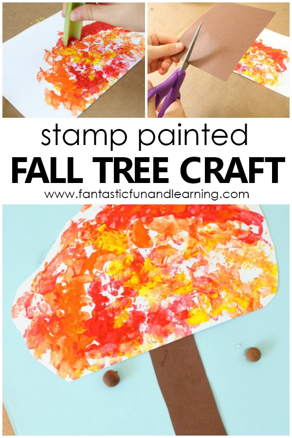 Stamp Painted Fall Tree Craft-Autumn Art Project for Preschool and Kindergarten #preschool #kindergarten #fall