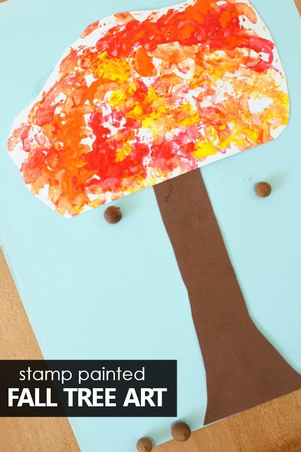 superior Fall Preschool Craft Part - 15: Stamped Fall Tree Craft for Kids-Painting without paintbrushes for preschool  fall tree art!