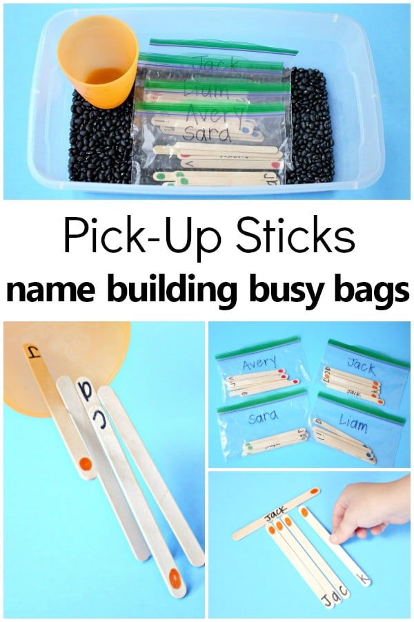 Name Pick-Up Sticks Busy Bags for Preschool and Kindergarten Name Building #preschool #kinder