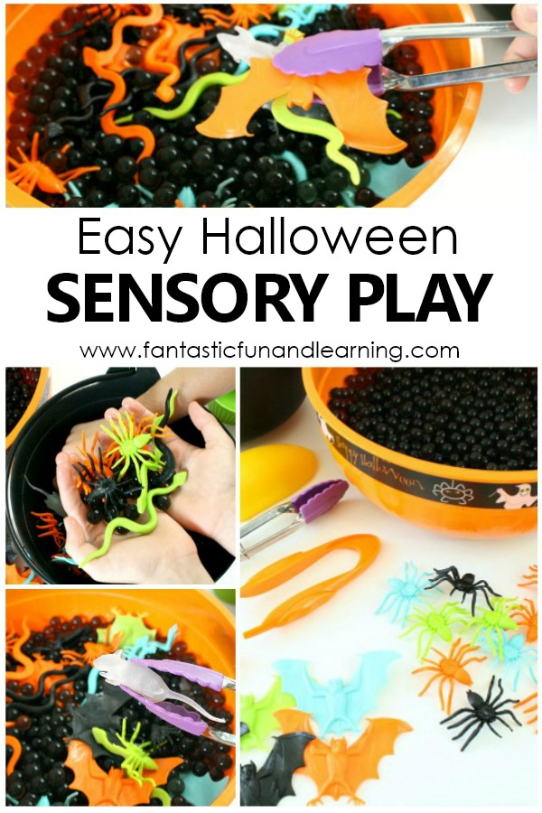 Easy Halloween Sensory Play Halloween Activity for Kids. Sensory Bin for Toddlers and Preschoolers #preschool #toddlers #kids #Halloween