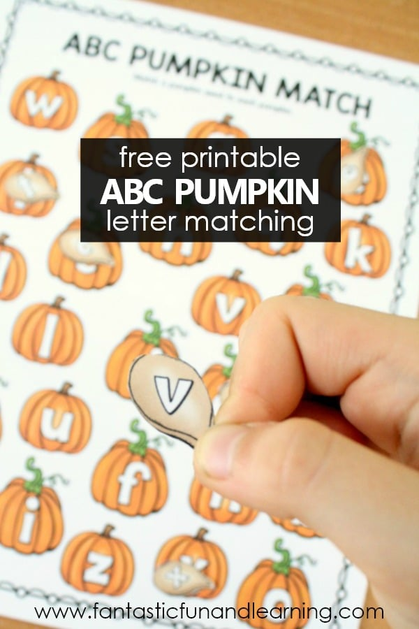 Free Printable ABC Pumpkin Letter Matching ABC Game for Preschool and Kindergarten #fall #preschool #halloween