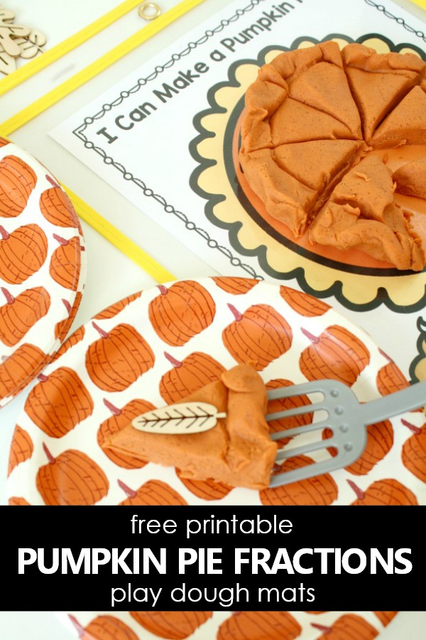 Free Printable Pumpkin Pie Fractions Play Dough Mats for Thanksgiving Actities #thanksgiving #freebie #preschool #kindergarten