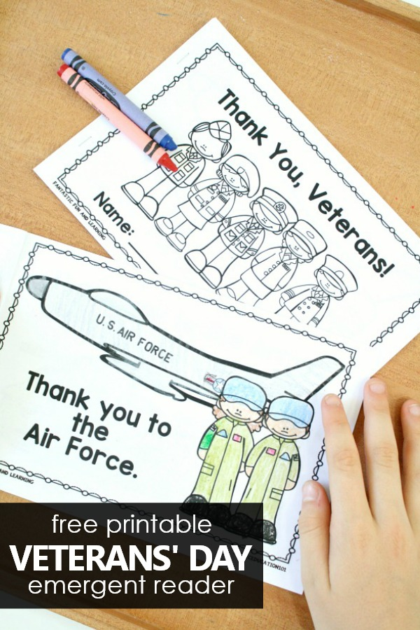 Free Printable Thank You Veterans Emergent Reader #preschool #kindergarten #freebie #veterans