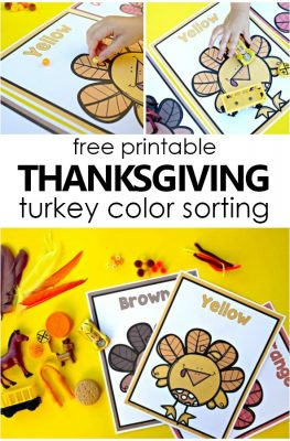 Free Printable Thanksgiving Turkey Color Sorting Mats-Thanksgiving activities for toddlers and preschool #preschool #toddler #freeprintable #thanksgiving