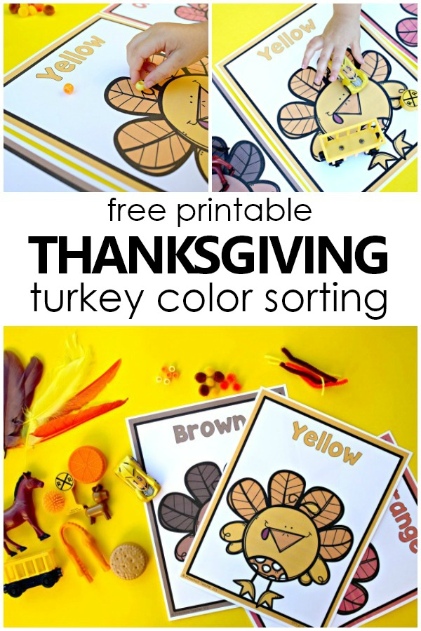 image regarding Toddler Printable referred to as Thanksgiving Colour Sorting Turkey Mats - Extraordinary Enjoyable