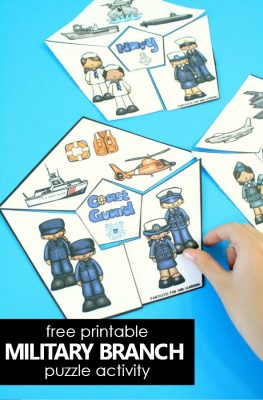 Free Printable United States Military Branch Puzzle Activity #veteransday #freebie #patriotic