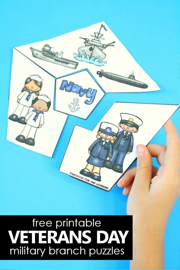 Free Printable Veterans Day Military Branch Puzzles #freeprintable #veteransday #kids