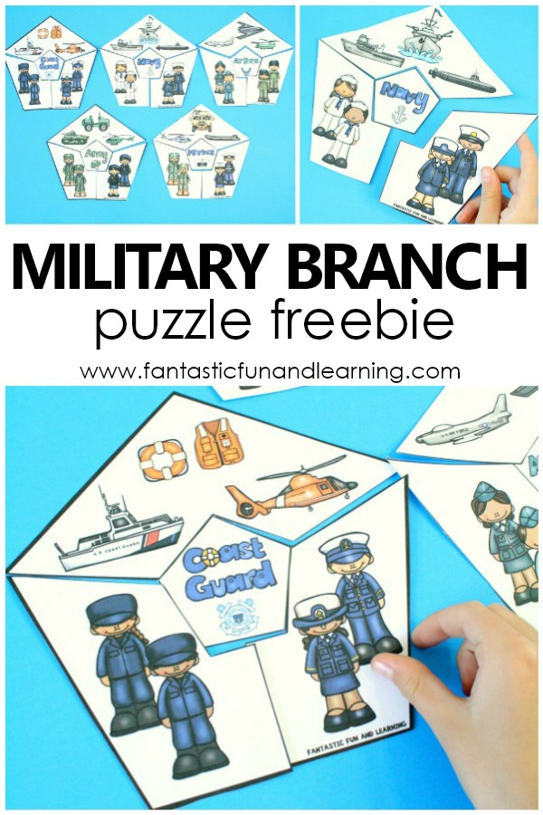 Miltary Branch Puzzles Free Printable for Veterans Day or US Patriotic Activities #veteransday #freeprintable #kindergarten #elementary