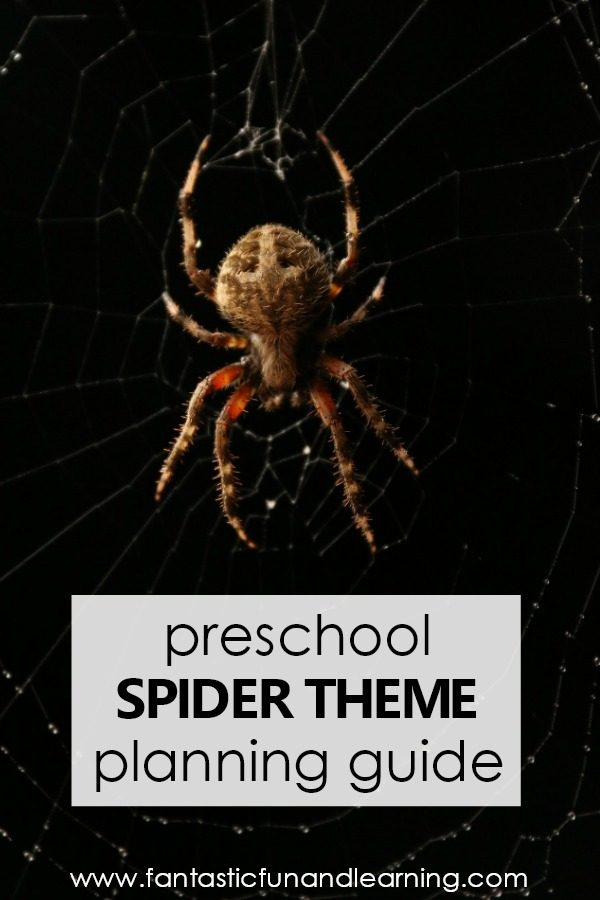 Preschool Spider Theme Planning Guide with preschool lesson plans, free printables, videos and more #preschool #halloween #spiders