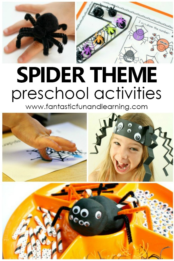 Spider Theme Preschool Activities with spider crafts, free printables, play activities and more #preschool #spiders #preschoolthemes
