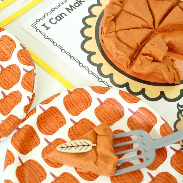 Decorating pumpkin pie pretend play
