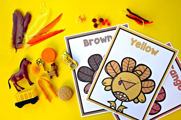 Turkey color recognition Thanksgiving activity for toddlers