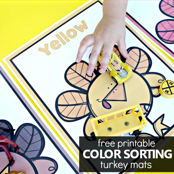 free printable color sorting turkey mats for toddlers and preschoolers