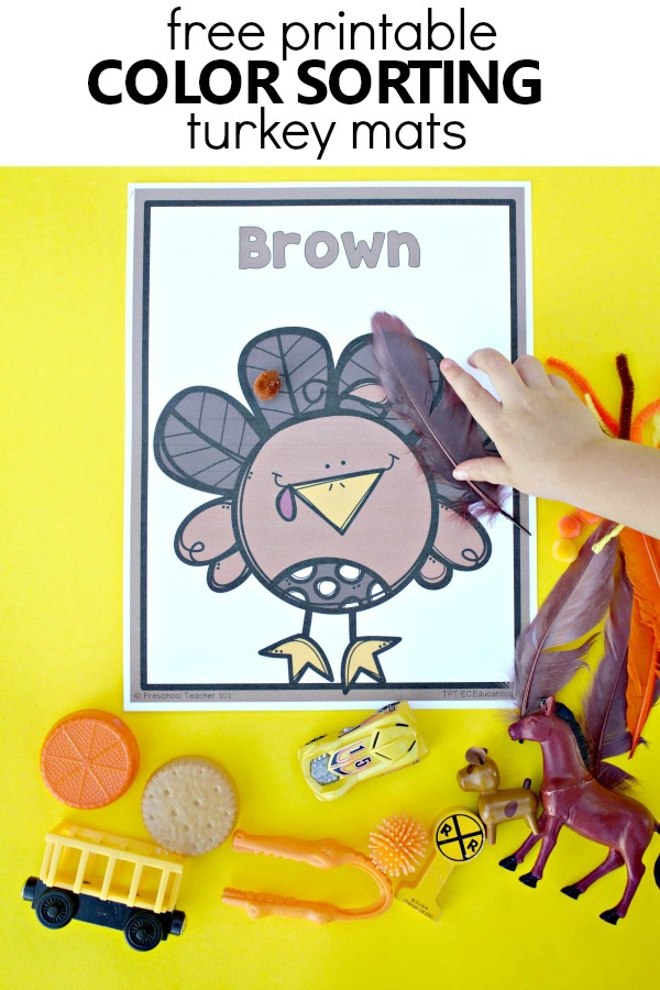 Free printable turkey color sortinng mats. Color recognition Thanksgiving activity for toddlers and preschoolers #toddler #preschool #thanksgiving