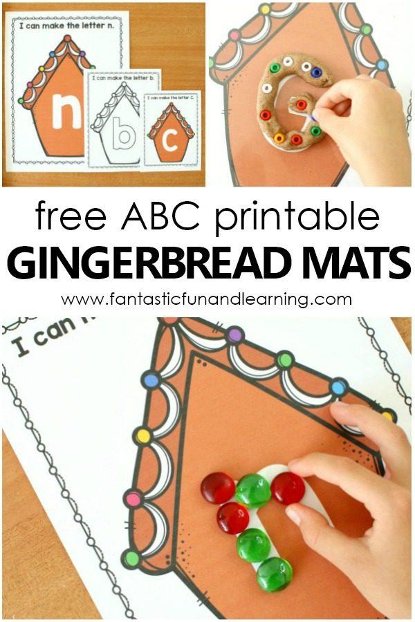 ABC Printable Gingerbread Play Dough Mats Freebie #gingerbread #christmas #freeprintable #prek #alphabet