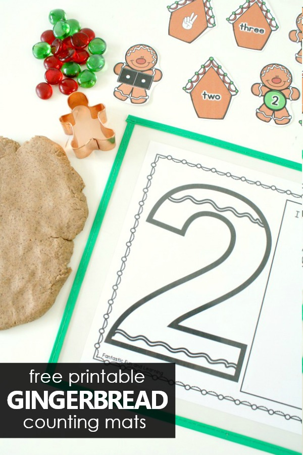 Christmas Gingerbread Theme Play Dough Mats for PreK and K #preschool #freebie #christmas