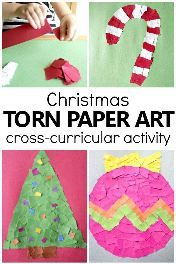 Torn Paper Christmas Crafts for Kids-Easy Christmas Crafts Kids Can Make #christmas #preschool #kindergarten #kidscrafts