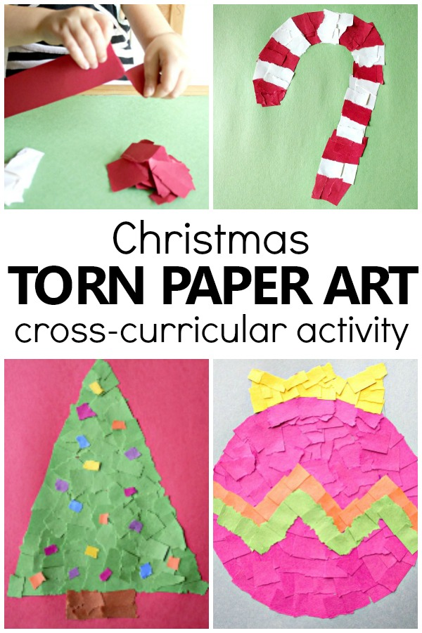 Torn Paper Christmas Crafts for Kids-Easy Christmas Crafts Kids Can Make #christmas #preschool #kindergarten #kidscrafts