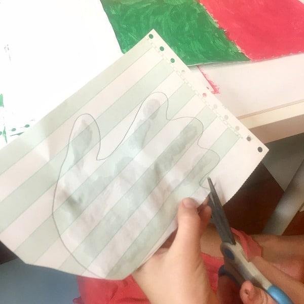 Cutting out handprint turkeys-Step 2