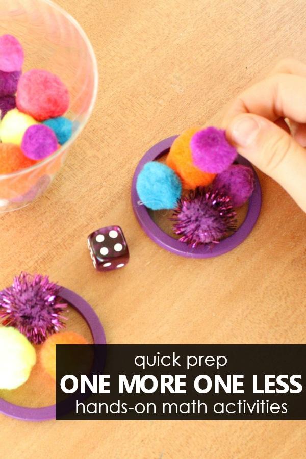 Easy to Prep One More One Less Hands-on Math Activities for Preschool and Kindergarten #preschool #kindergarten
