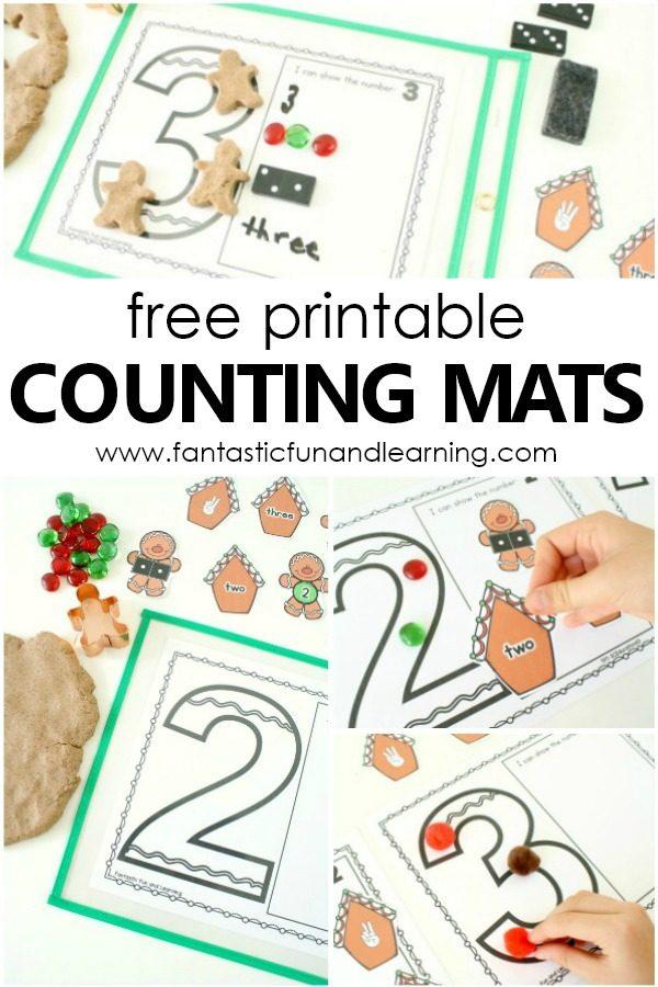 Free Printable Gingerbread Man Theme Counting Mats for Preschool and Kindergarten #preschool #gingerbread #math #freeprintable