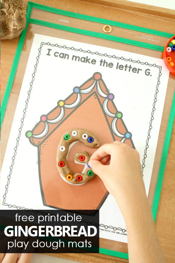 Free Printable Gingerbread Play Dough Alphabet Printables #preschool #christmas #kindergarten #freeprintable