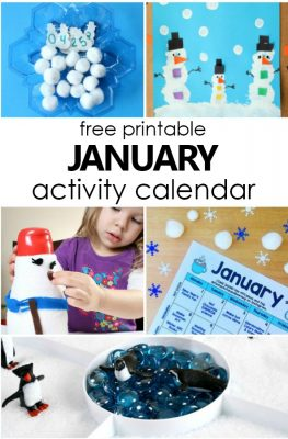 Free Printable January Calendar of Preschool Activities. Winter Activities and Fun Things to Do with Kids #freeprintable #kids #winter #january