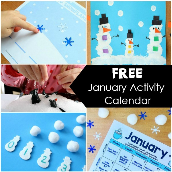 Free Printable January Calendar of Preschool Activities. Winter Activities and Fun Things to Do with Kids