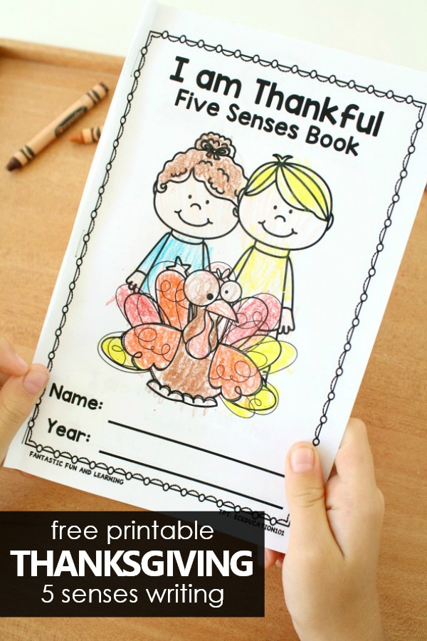 Free Printable Thanksgiving 5 Senses Easy Reader and Writing Activity #thanksgiving #preschool #kindergarten #freeprintable