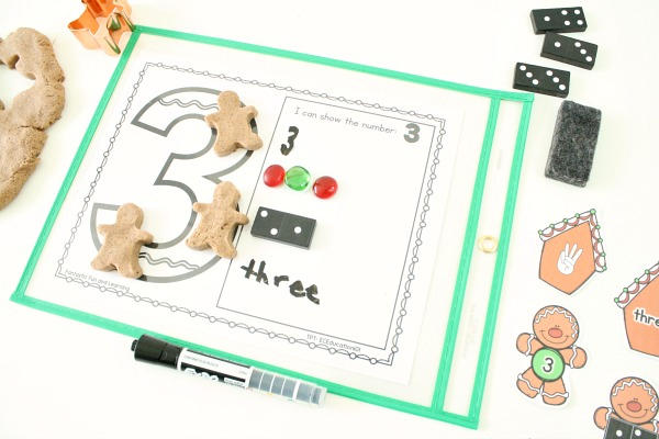 Gingerbread Man Dry Erase Math Activities Freebie