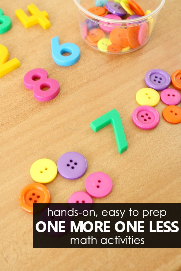 Hands-on easy to prep one more one less math activities for kids #kindergarten #numbersense #math #preschool