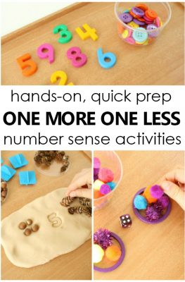 Hands-on, quick prep one more one less number sense activities for math small groups in preschool and kindergarten #math #preschool #kindergarten