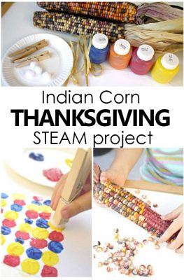 In this Indian Corn Math and Art Thanksgiving Project kids sort, create patterns, and create a beautiful Indian Corn Thanksgiving craft for kids. #thanksgiving #STEAM #preschool #kindergarten
