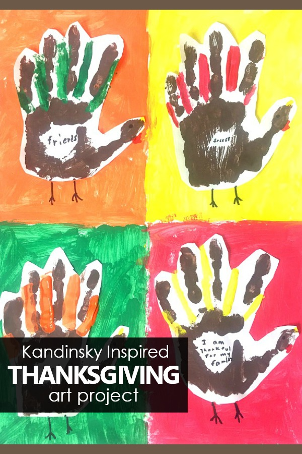 Create a Kandinsky Inspired Turkey Handprint Art Project to combine art history and gratitude in this beautiful keepsake Thanksgiving project for kids. Kandinsk Inspired Thanksgiving Art Project for Kids #Thanksgiving #Art #Kidart