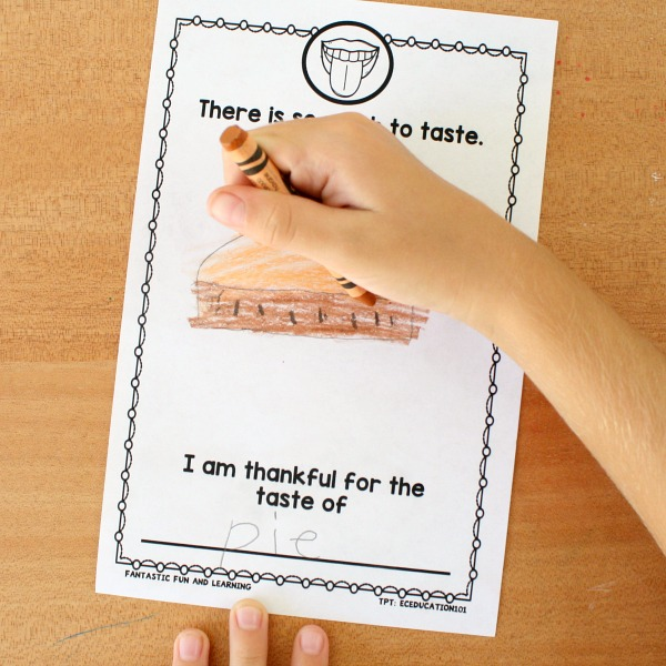 Thanksgiving Activity for Kids-Five Senses Writing