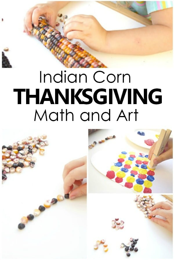 Thanksgiving Math and Art Activities with Indian Corn #preschool #kindergarten #math
