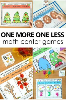 15 One More One Less Games for Preschool and Kindergarten. Themes for the entire year. Includes optional recording sheets #preschool #kindergarten #math