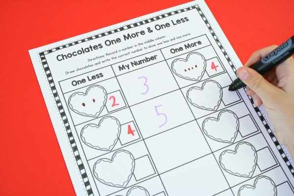 Chocolates One More One Less Worksheet