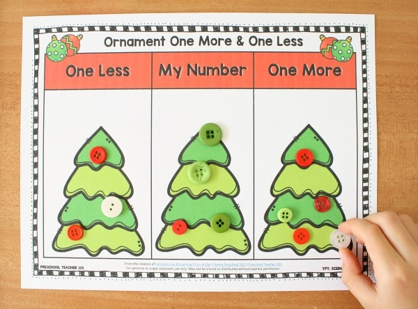 Christmas One More One Less Activities