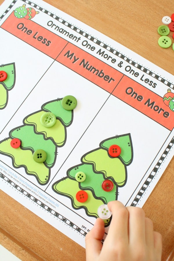 Christmas One More One Less Games and Center Activities #kindergarten #preschool #math #christmas