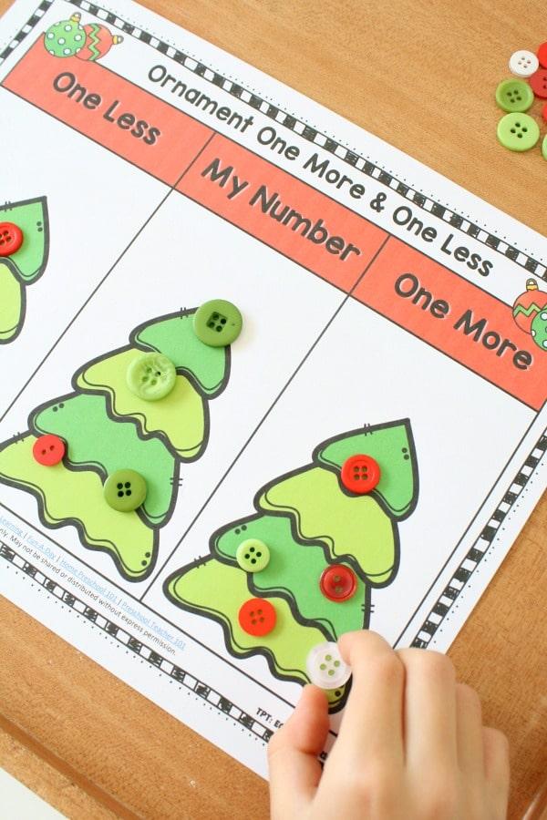 Christmas One More One Less Games and Center Activities #kindergarten #preschool #math #christmas