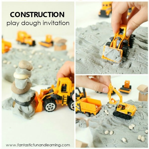 Construction Play Dough Invitation Square