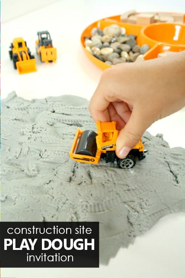Construction Site Play Dough Invitation -Preschool Sensory Play and Play Dough Ideas #preschool #playdoh