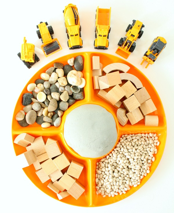 Construction Site Play Dough Invitation for Preschoolers