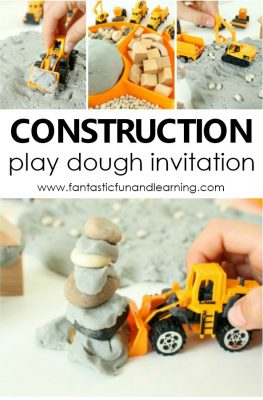 Construction Site Play Dough Invitation for preschool construction or community helpers theme #playdough #preschool #sensory