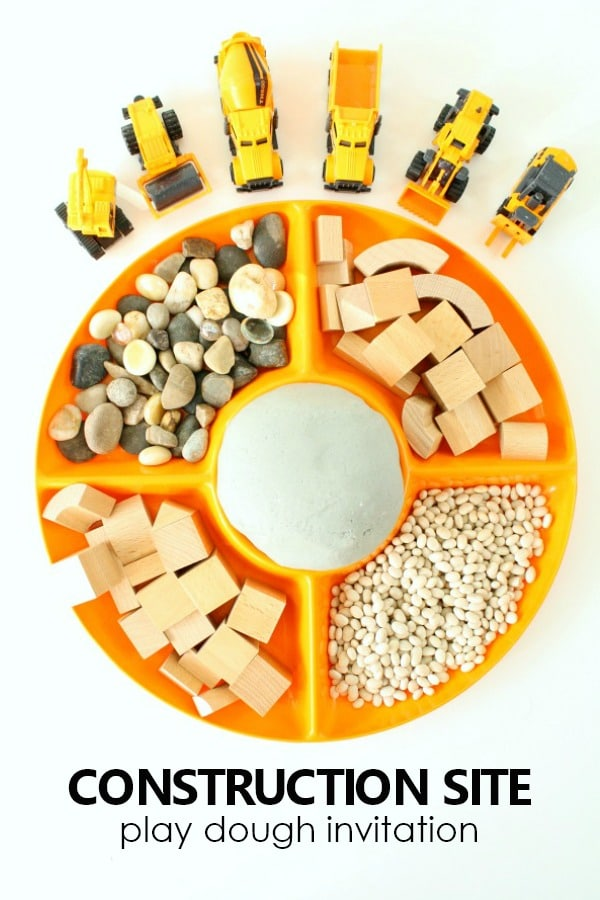 Construction Site Play Dough Invitation #preschool #playdough #sensoryplay