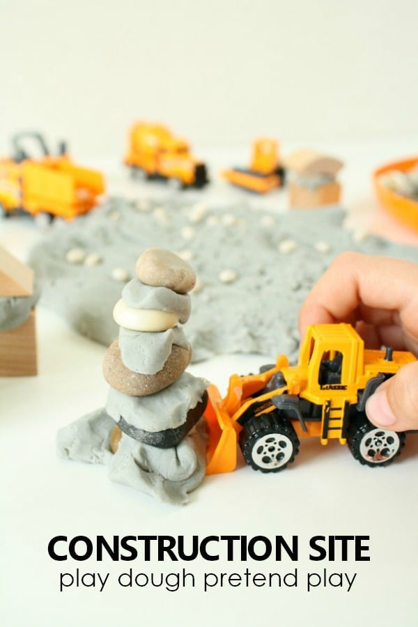 Construction Site Play Dough Pretend Play for Preschoolers #playdough #pretendplay #preschoolers