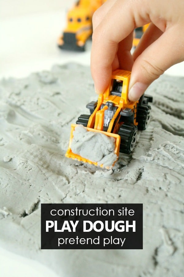 Construction Theme Pretend Play with Construction Site Play Dough Invitation #communityhelpers #preschool #kindergarten