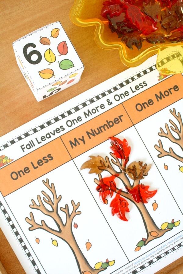 Fall Leaves One More One Less Games for Kindergarten #kindergarten #preschool #math #fall