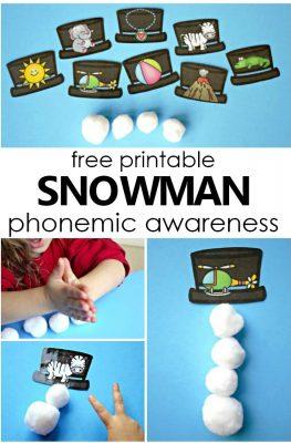 Free Printable Build a Snowman Phonemic Awareness Activity-Syllable and Phoneme segmentation activity for preschool and kindergarten #preschool #kindergarten #freeprintable #freebie #phonemicawareness #literacy